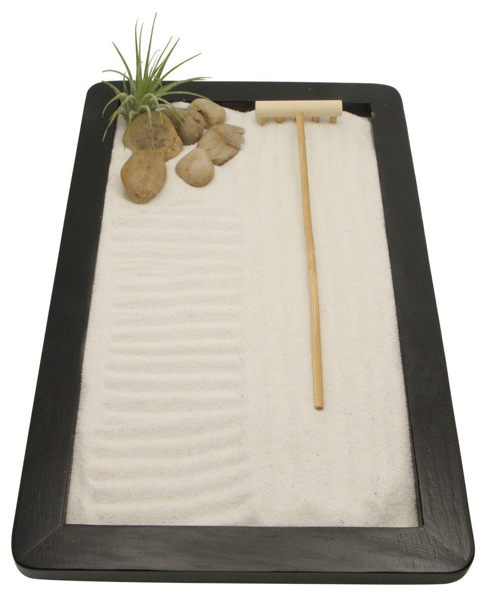 Meditation Zen Garden Complete With White Sand, Smooth Rocks And An  Airplant. Zen Gardens