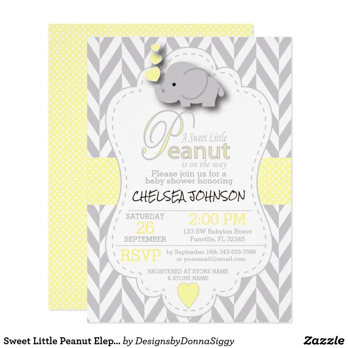 Sweet Little Peanut Elephant Baby Shower Invitation Zazzle