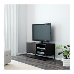 IKEA - HAGGE, TV-benk, svart, , Skyvedører sparer plass og skjuler ... | title
