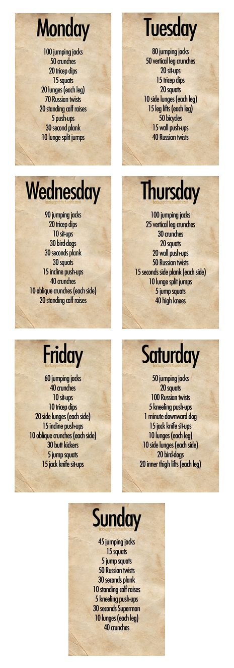 Week Workout Plan  Beauty And Fitness    Week Workout
