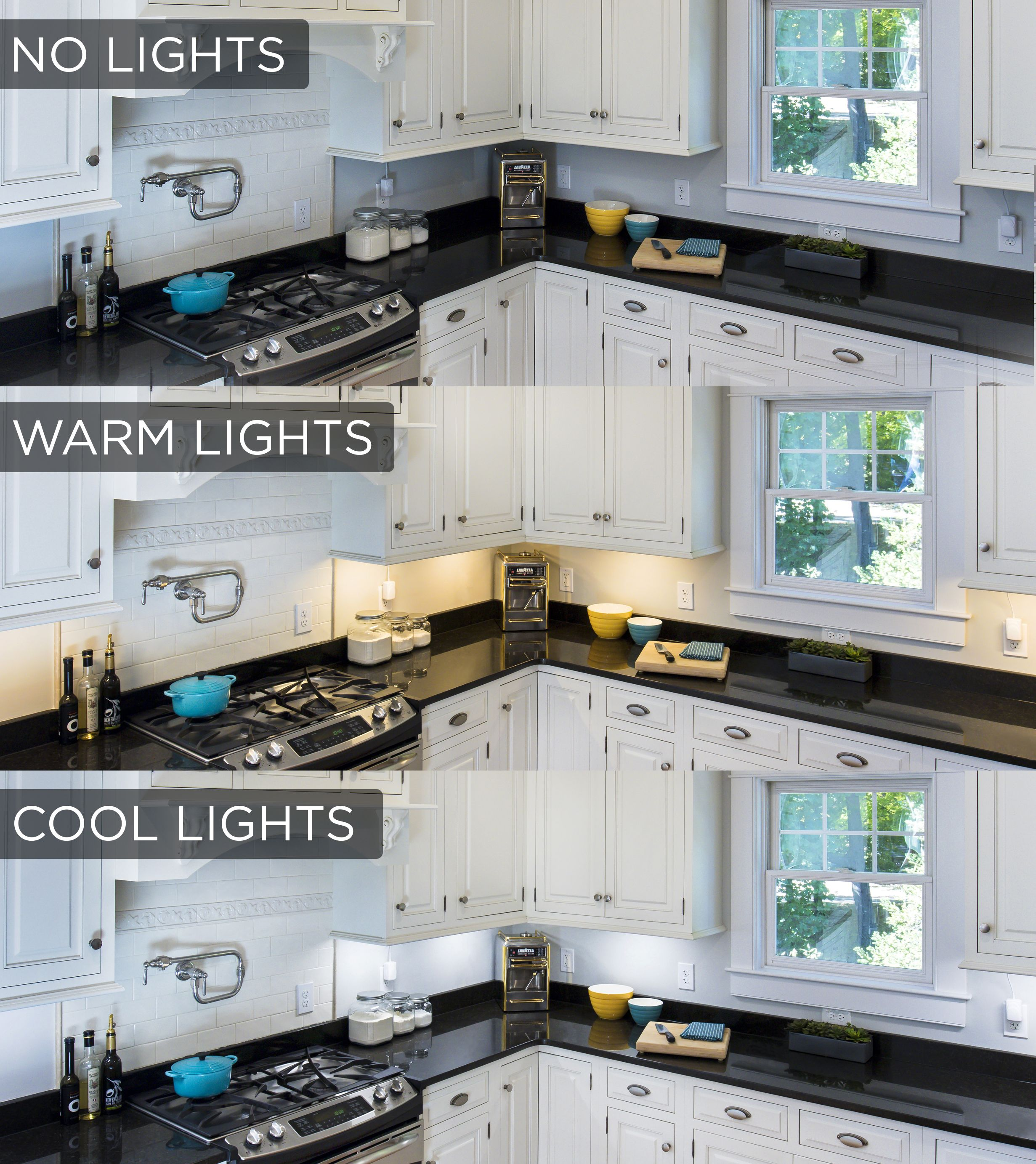 this under cabinet lighting comparison shows the stark difference the lights make in a kitchen choose a warm white color temperature for inviting accent