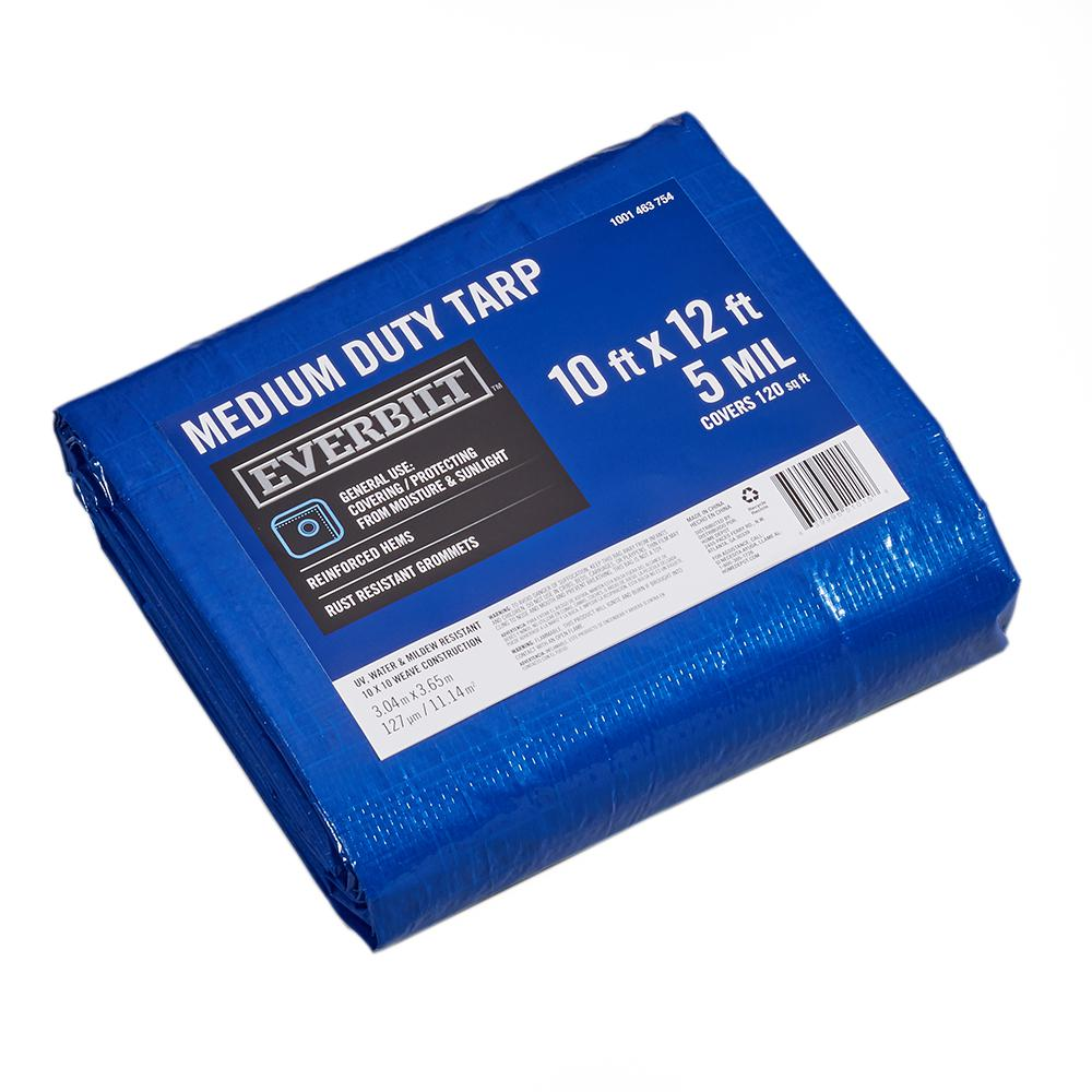 Everbilt 10 Ft X 12 Ft Blue Tarp Hld1012m The Home Depot Tarps Roof Protection Roof Covering