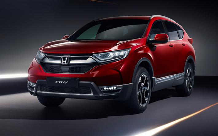 Download Wallpapers Honda Cr V 2019 4k Exterior Front View New Red Cr V Suv Japanese Cars Honda Besthqwallpapers Com Honda Cr Honda Crv Carros Japoneses