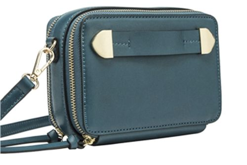 0734efe35ebb Melie Bianco s Finn cross body handbag in teal vegan leather. A boxy camera  case style handbag with double zippers
