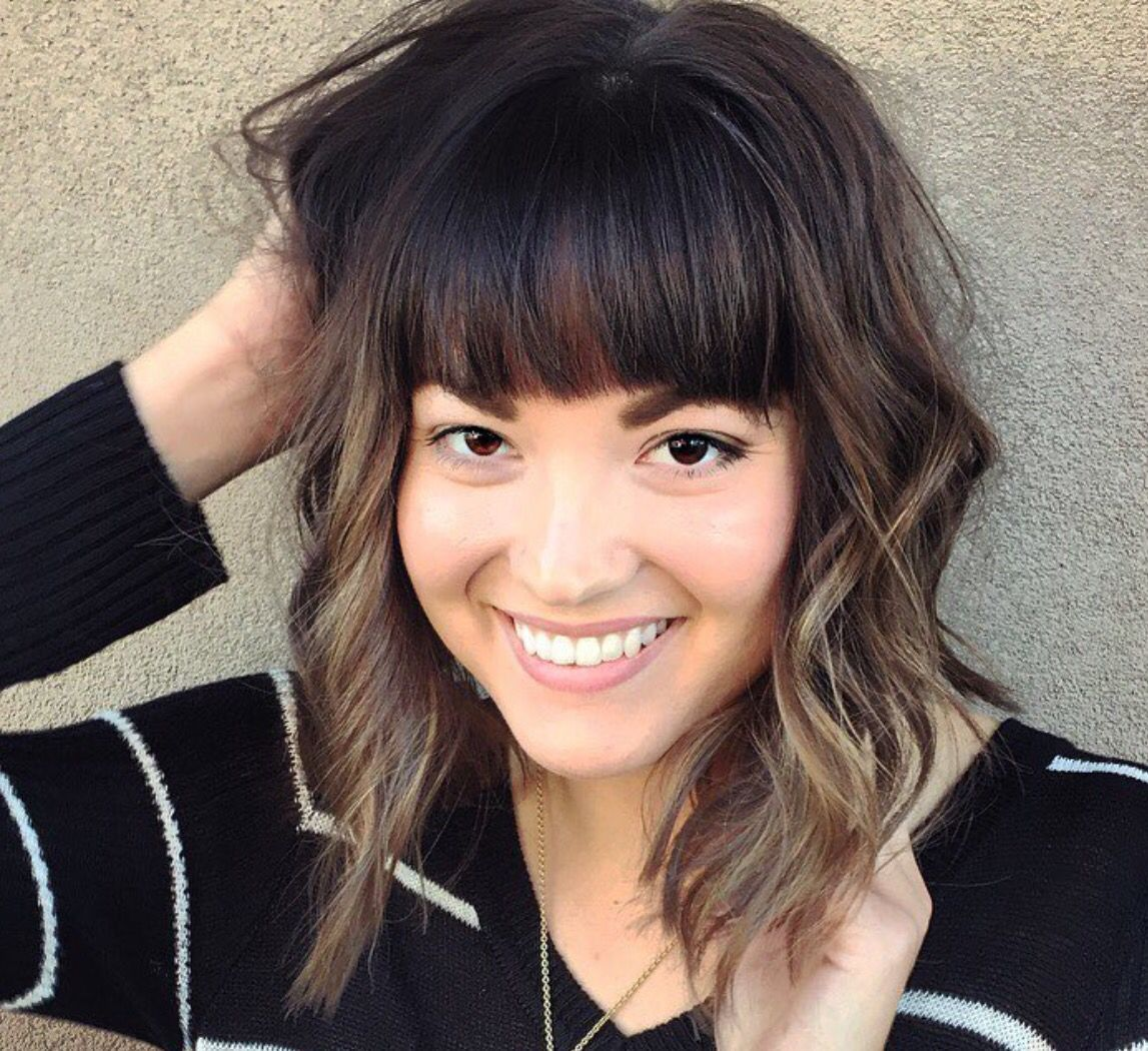 Beautiful Short Ombre For Dark Brown Hair With Blunt Fringe Bangs Short Hair Styles Short Ombre Hair Brown Hair Balayage