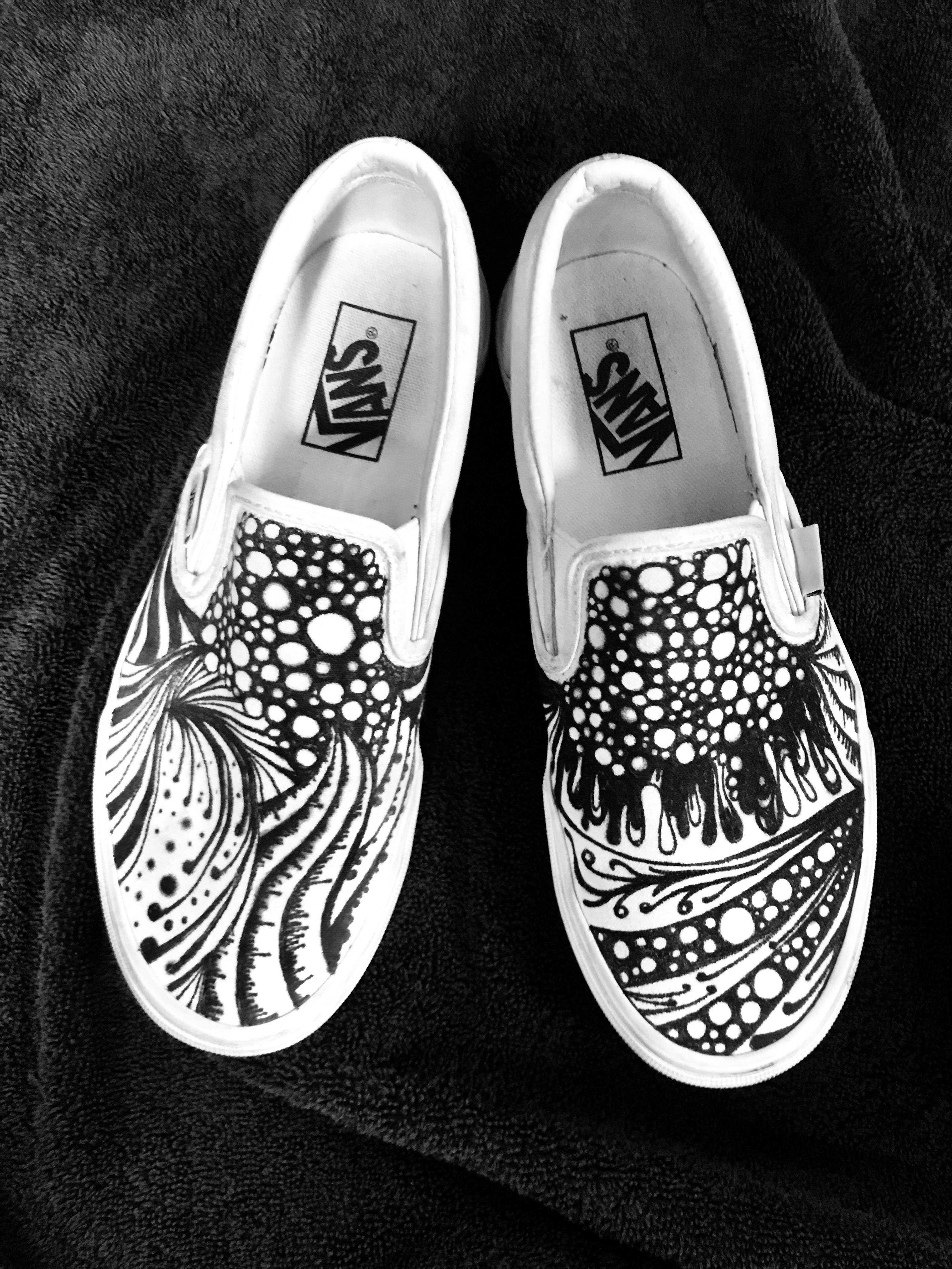 White Vans Customized With Oil Sharpie Pens With Images