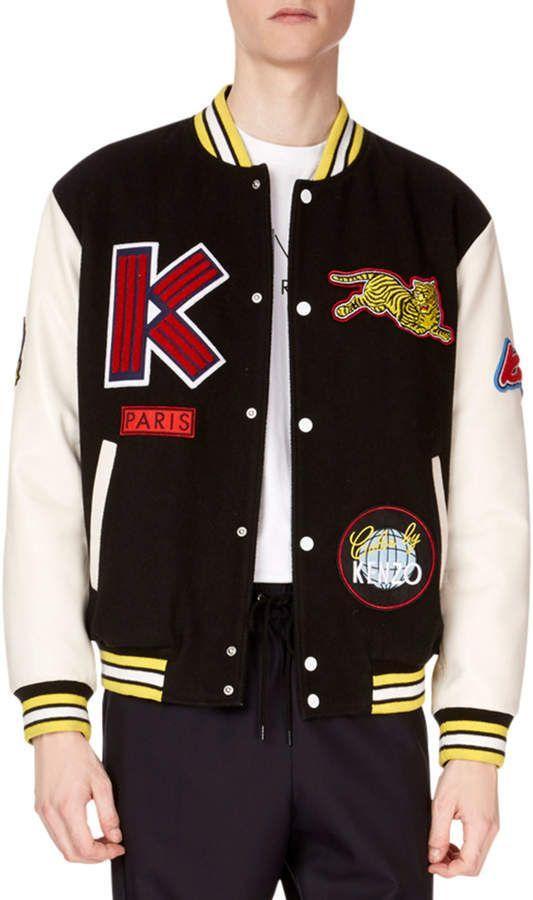 b0c2d9e352 Men's Patchwork Varsity Logo Jacket in 2019   PATCHES   Jackets ...