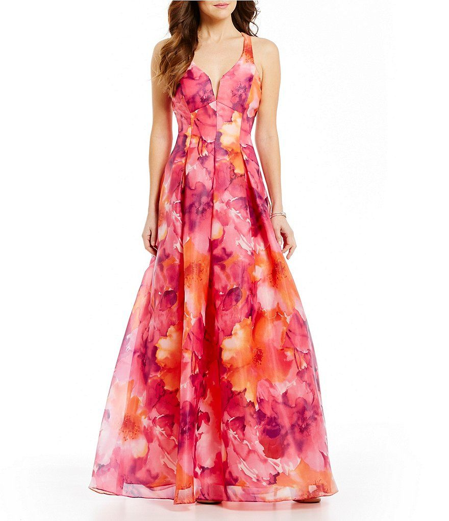 Jump Floral Print Open X-Back Ball Gown | prom | Pinterest