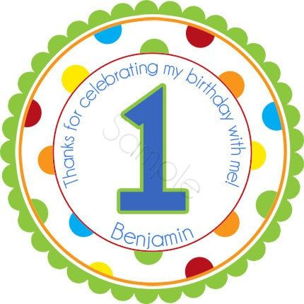 Polka dot birthday age number w wide polka dot border design personalized stickers by partyink
