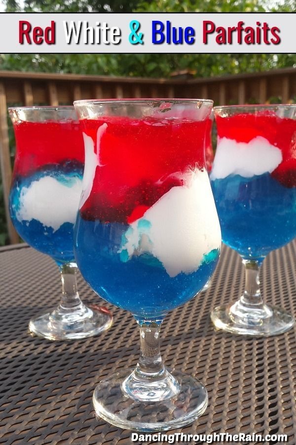 White & Blue Parfaits This Red White and Blue Jello Parfait is perfect for your next Memorial Day, 4th of July or Labor Day dessert table! They are easy red white and blue desserts and extremely affordable!