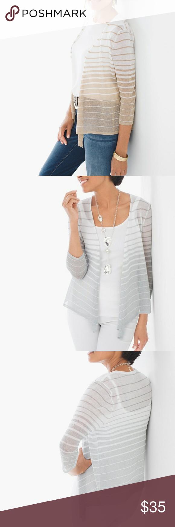 Chico's | Cori Gold Shimmer Stripe Cardigan NWT | Striped cardigan ...
