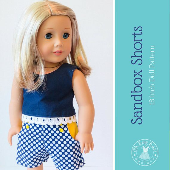 18 inch doll clothes pattern for American Girl ® Sandbox Shorts PDF ...