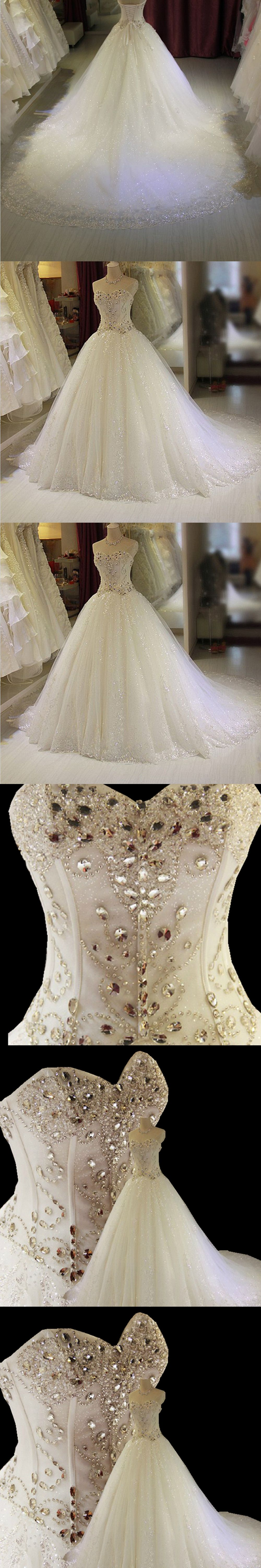 Real photos crystals beaded ball gown long train wedding dresses