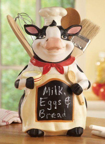 Cow Kitchen Cow Chef Chalkboard Kitchen Utensil Holder Cow Kitchen Decor Cow Decor Teal Kitchen Decor