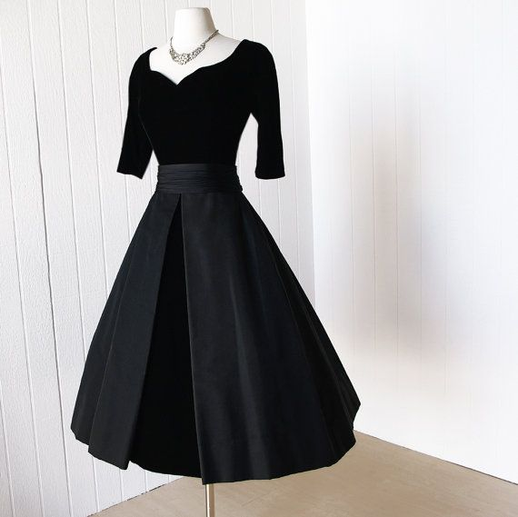 vintage 1950\'s dress ...classic dior inspired SUZY PERETTE ink black ...