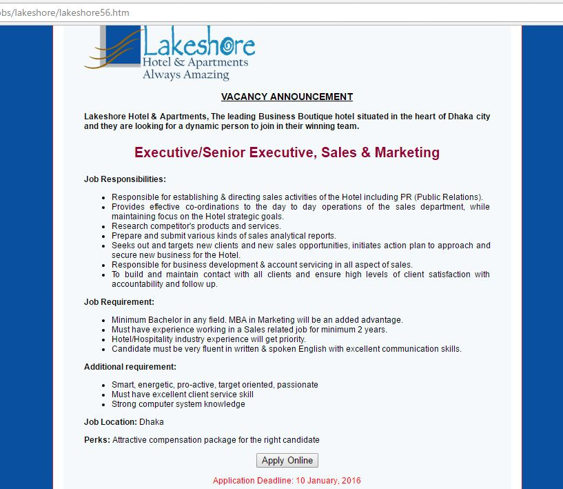 Lakeshore Hotel  Apartments ExecutiveSenior Executive Sales