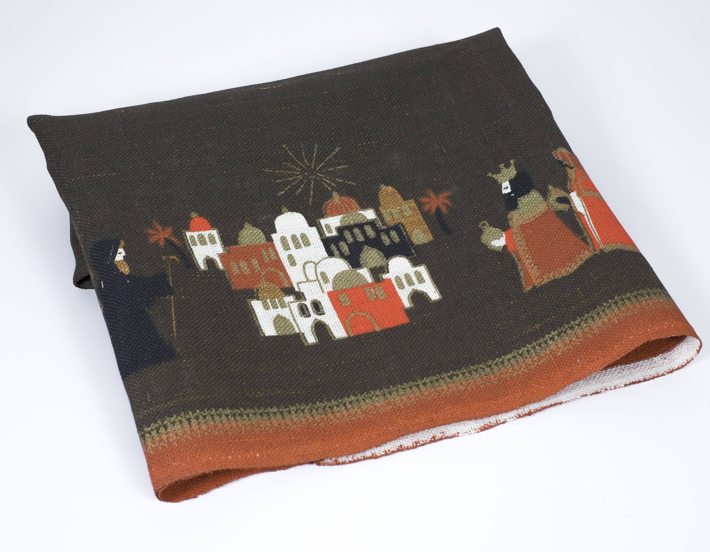 Vintage Mid Century Modern Christmas Tablecloth Hand Printed Sodahl