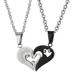 Half cincin couple intan pinterest stainless steel buy stainless steel 2 piece sets pendants necklace 537 black white at wish shopping made fun mozeypictures Image collections