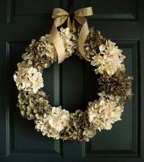 Wedding Wreath Green Off White Hydrangea Wreath Wedding