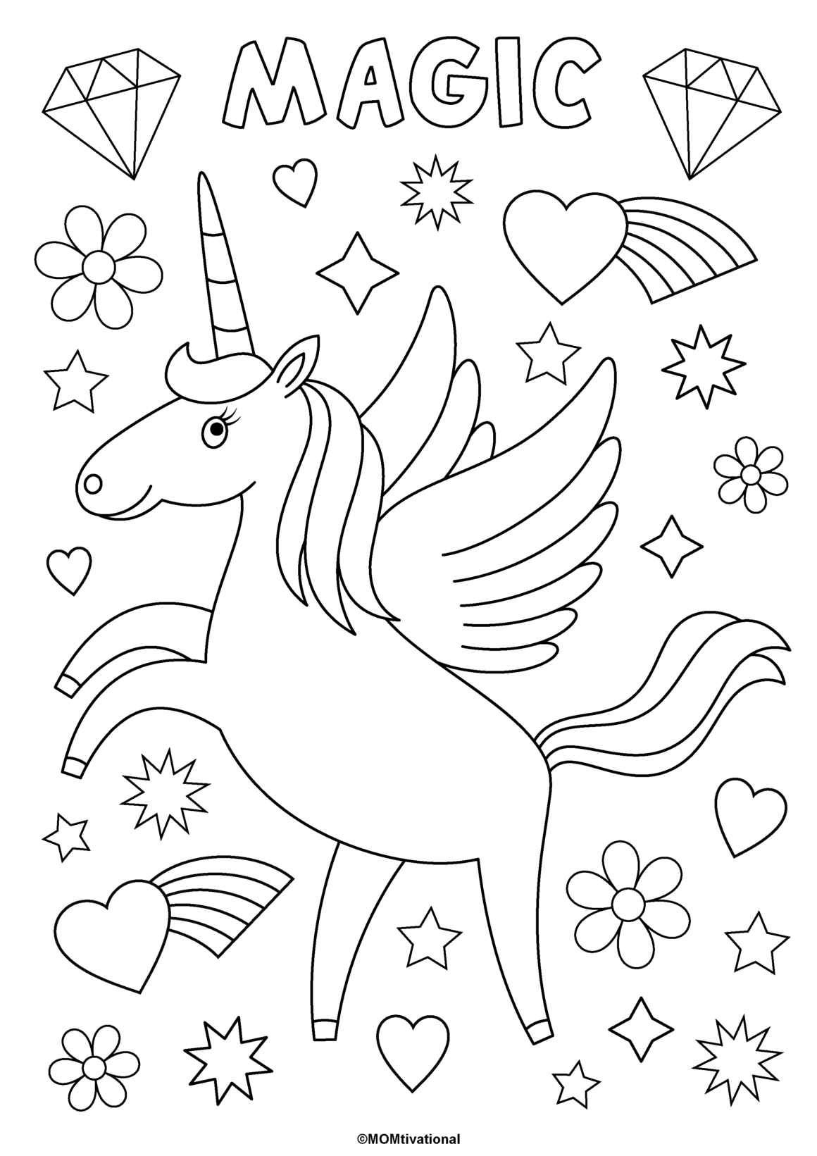 Fun And Free Unicorn Coloring Pages For Kids Momtivational In 2020 Unicorn Coloring Pages Free Kids Coloring Pages Coloring Pages