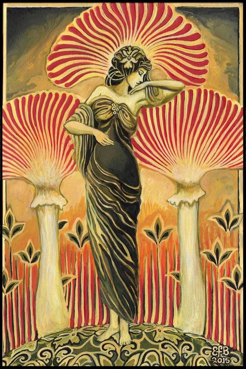 Soma Goddess 12x18 Print Pagan Mythology Art Deco Art Nouveau Psychedelic Mushroom Bohemian