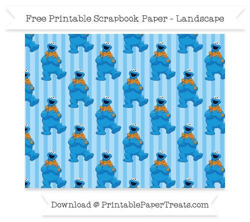 Free Landscape Pastel Light Blue Striped Large Crazy Cookie Monster Pattern Paper - Sesame Street
