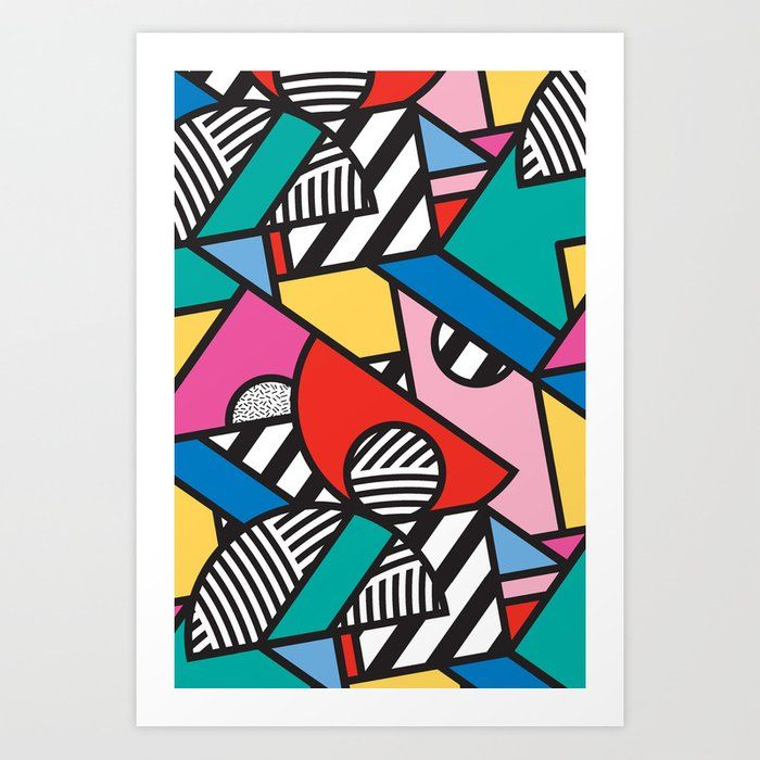 Buy Colorful Memphis Modern Geometric Shapes Art Print by seasonofvictory. Worldwide shipping available at Society6.com. Just one of millions of high quality products available. #memphisdesign