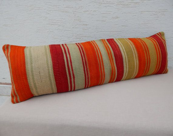 Extra Long Decorative Pillows : 12x40 inch Bohemian BEDDING Kilim Pillows,Extra Long Bed Pillow,Vintage Turkish Kilim Oblong ...