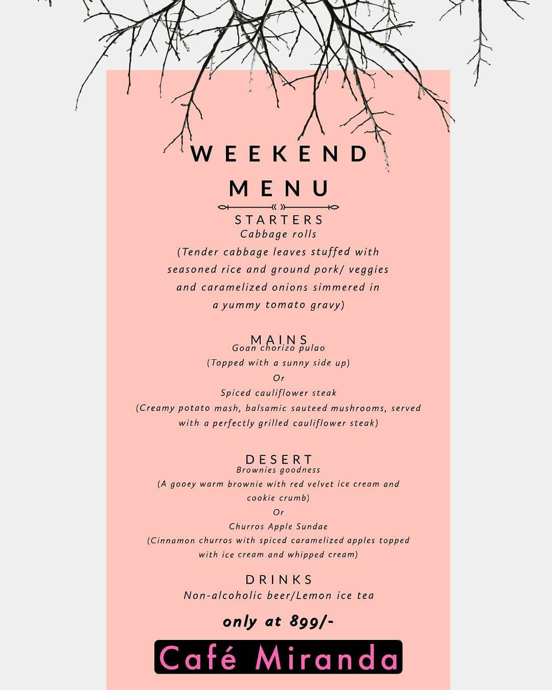 Come enjoy our set menu this weekend