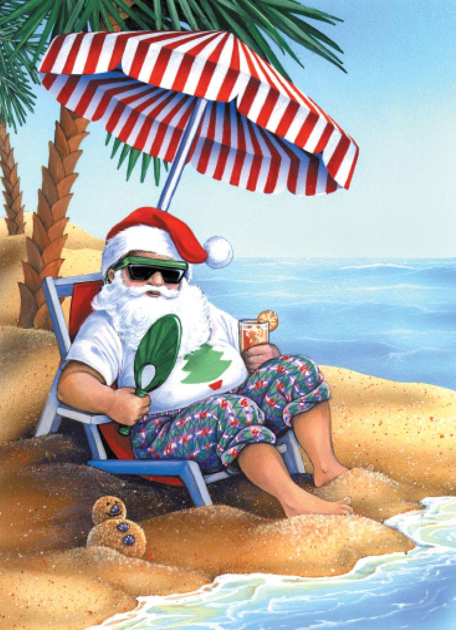 Santa on Beach Christmas Cards   Holiday Stuff   Pinterest ...