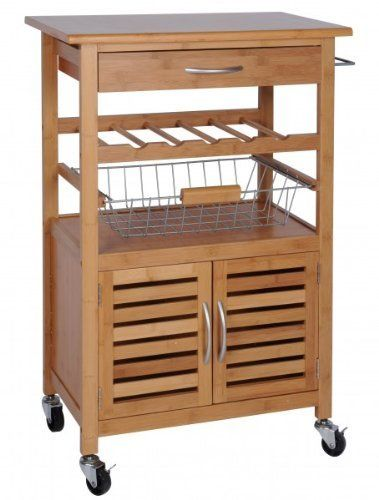 Exklusiver Küchenwagen aus Bambus - mit Weinregal, Obstkorb und - küchenwagen mit schubladen