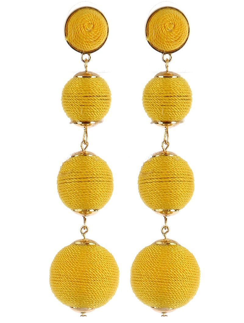 Color cord wrapped four chunky ball earrings yellow products