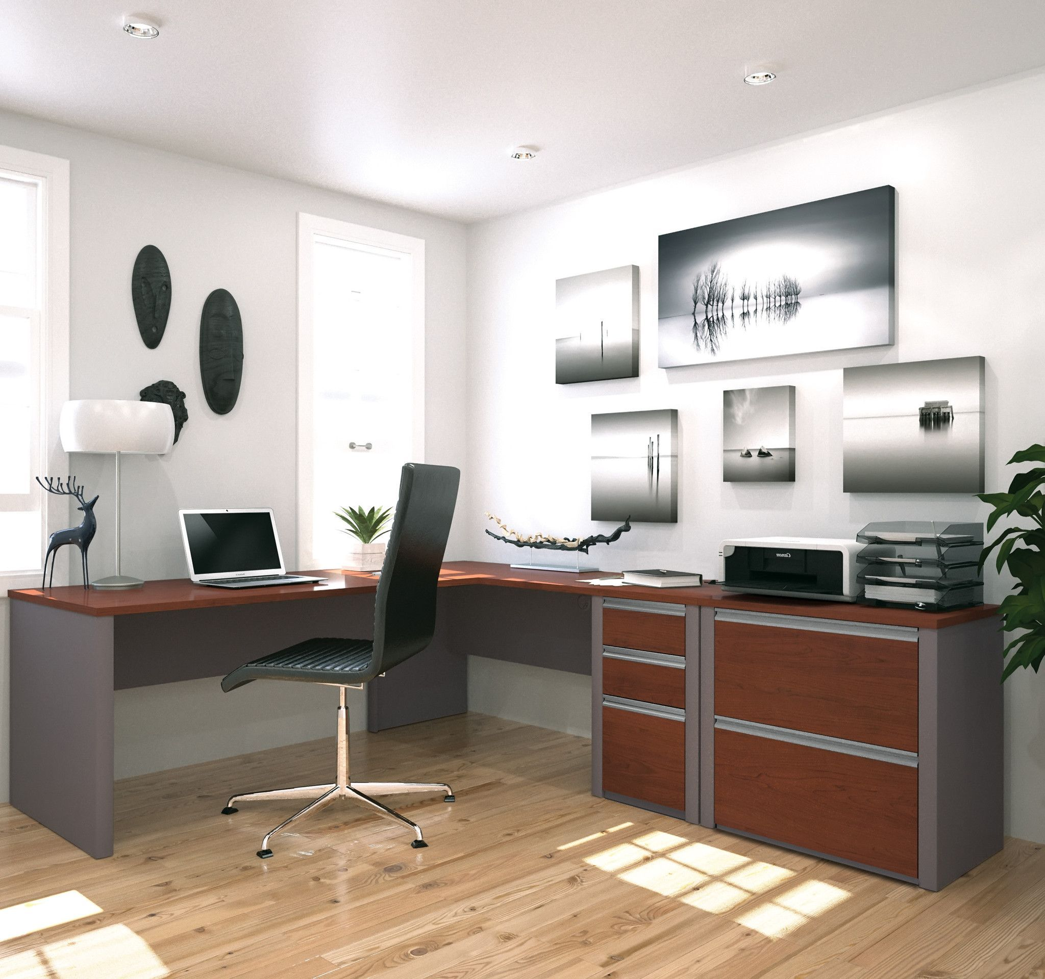 Modern bordeaux u slate single pedestal lshaped desk with included