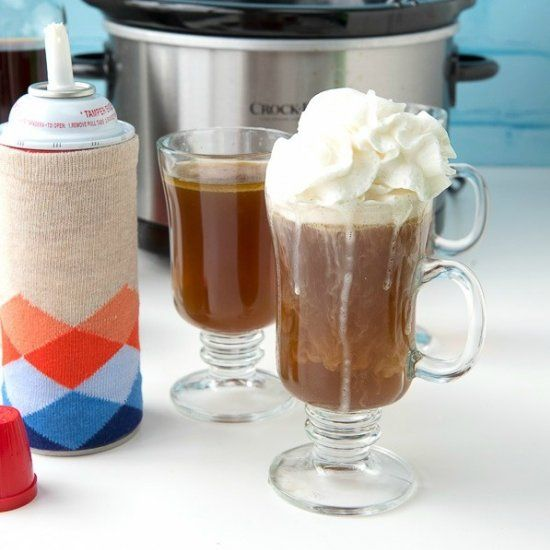 Slow Cooker Hot Buttered Rum (with a non-alcohol option). Perfect to take the chill off with no effort to prepare.