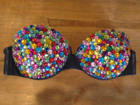 74ac08ad87 CLEARANCE Rainbow Rhinestone Rave Bra on Etsy