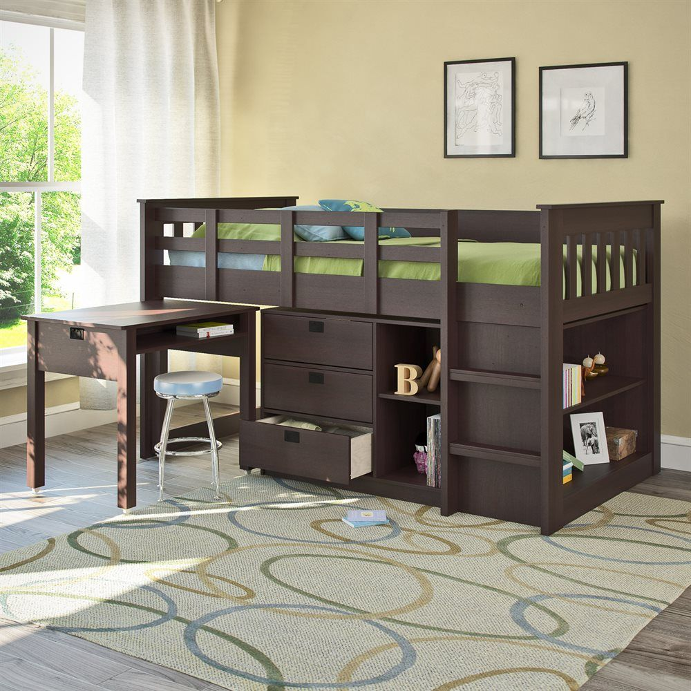 Loft bed with desk and stairs  This twin loft bed with desk and storage features a raised bed
