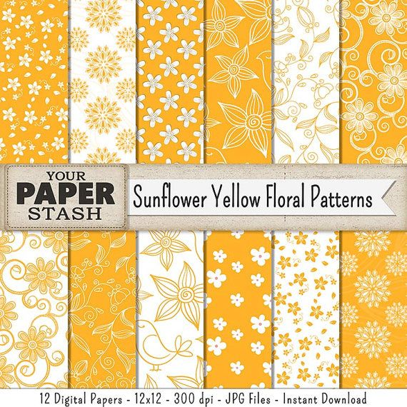 Floral Paper Yellow Sunflower Yellow Floral Flower Digital