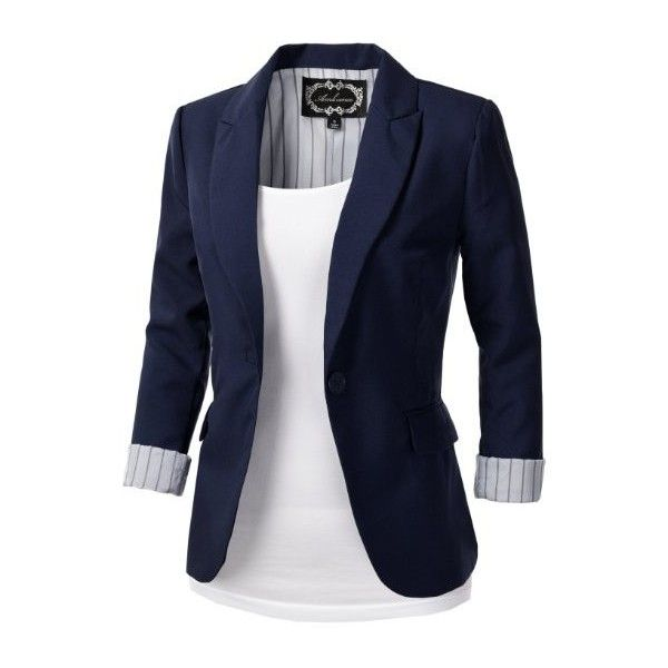 d4d1cf6f70b 9XIS Womens Tailored Boyfriend Blazer Jacket: Amazon.co.uk: Clothing found  on Polyvore featuring polyvore, women's fashion, clothing, outerwear,  jackets, ...