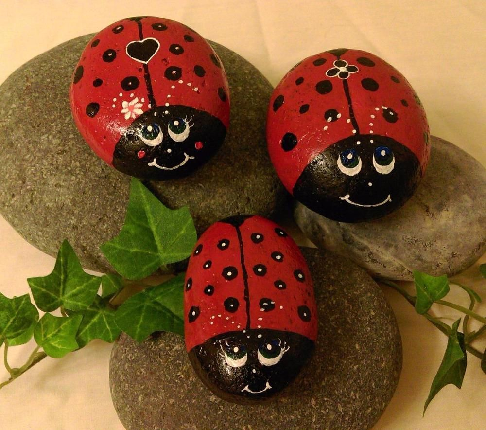See The Source Image With Images Ladybug Rocks Painted Rocks