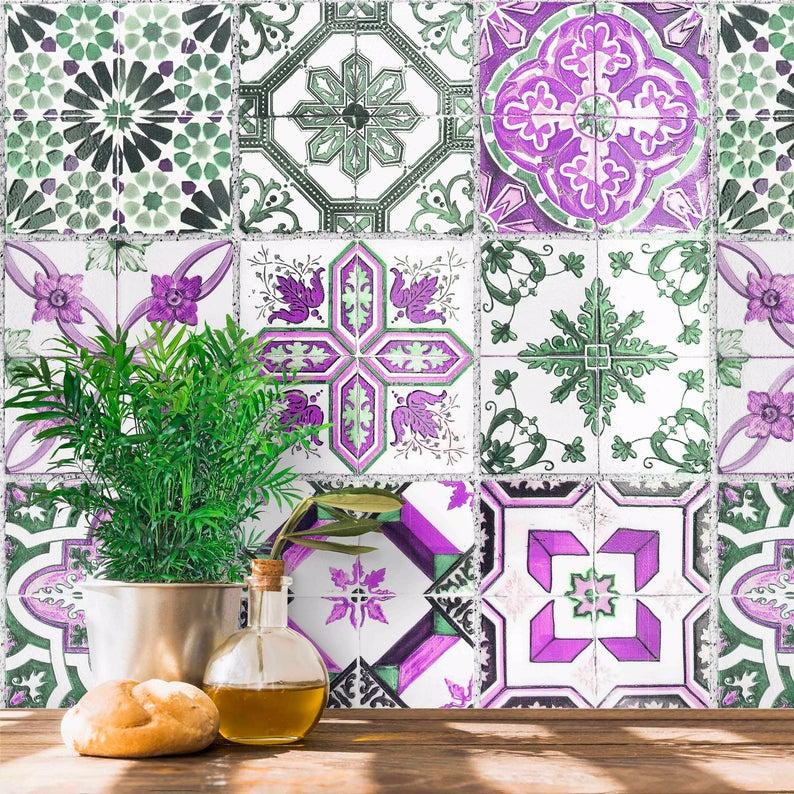Purple Spanish Tile Wallpaper Peel And Stick And Pre Pasted Etsy Tile Wallpaper Spanish Tile Custom Wallpaper