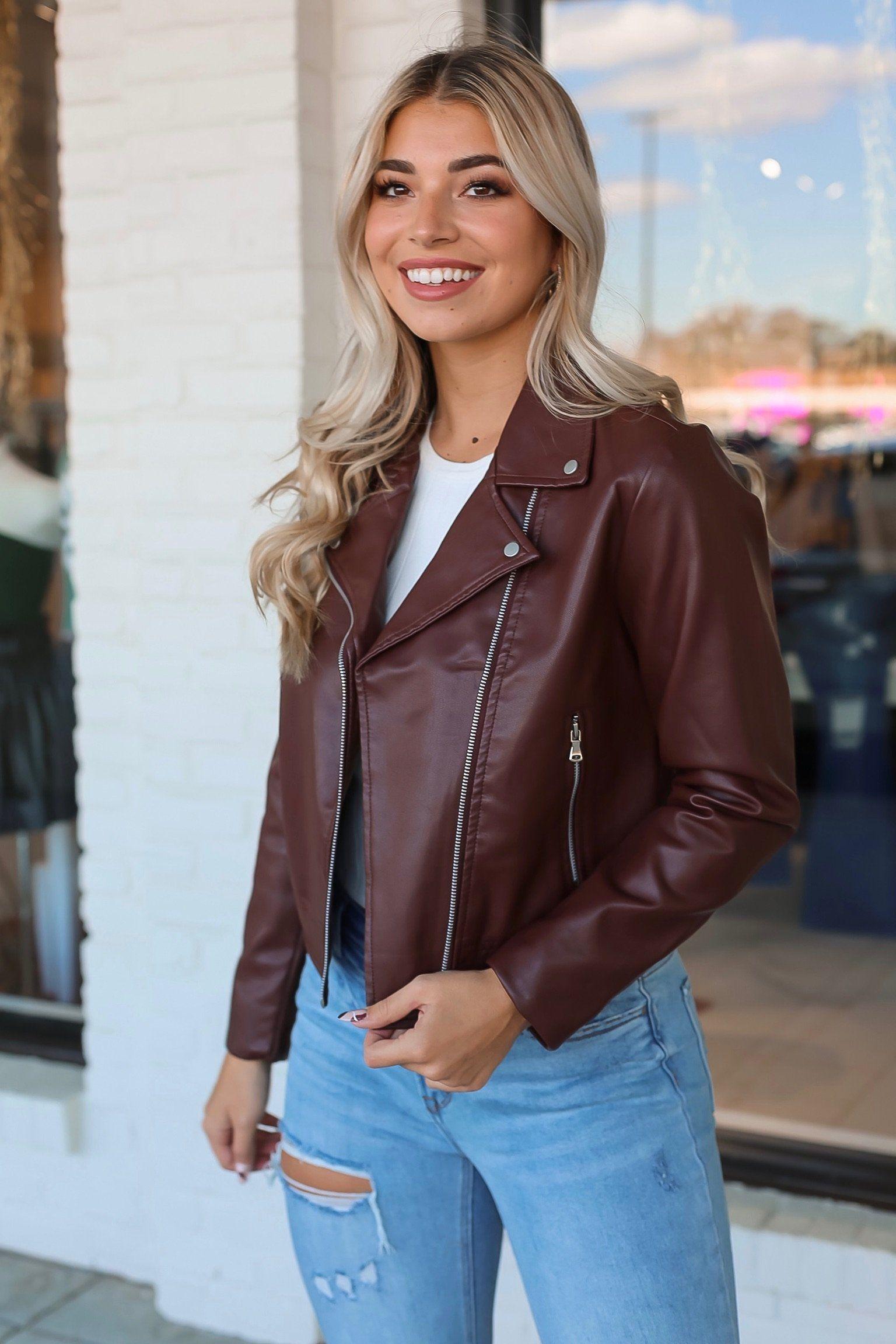 Frankie Faux Leather Jacket Brown S Leather Jacket Outfits Leather Jackets Women Dark Brown Leather Jacket [ 2304 x 1536 Pixel ]
