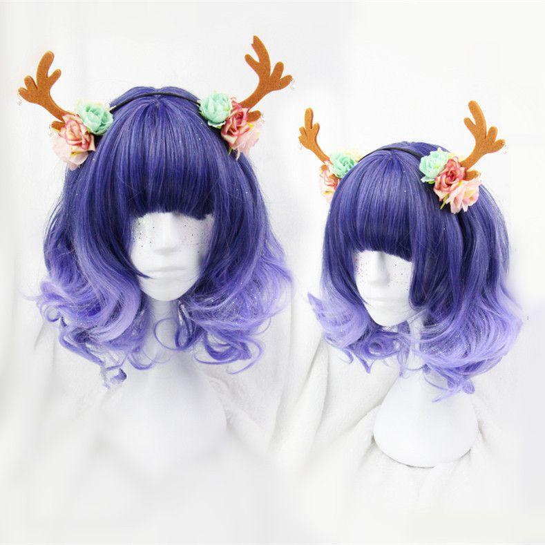 Purple Lolita Curly Short Hair Wig CP166712