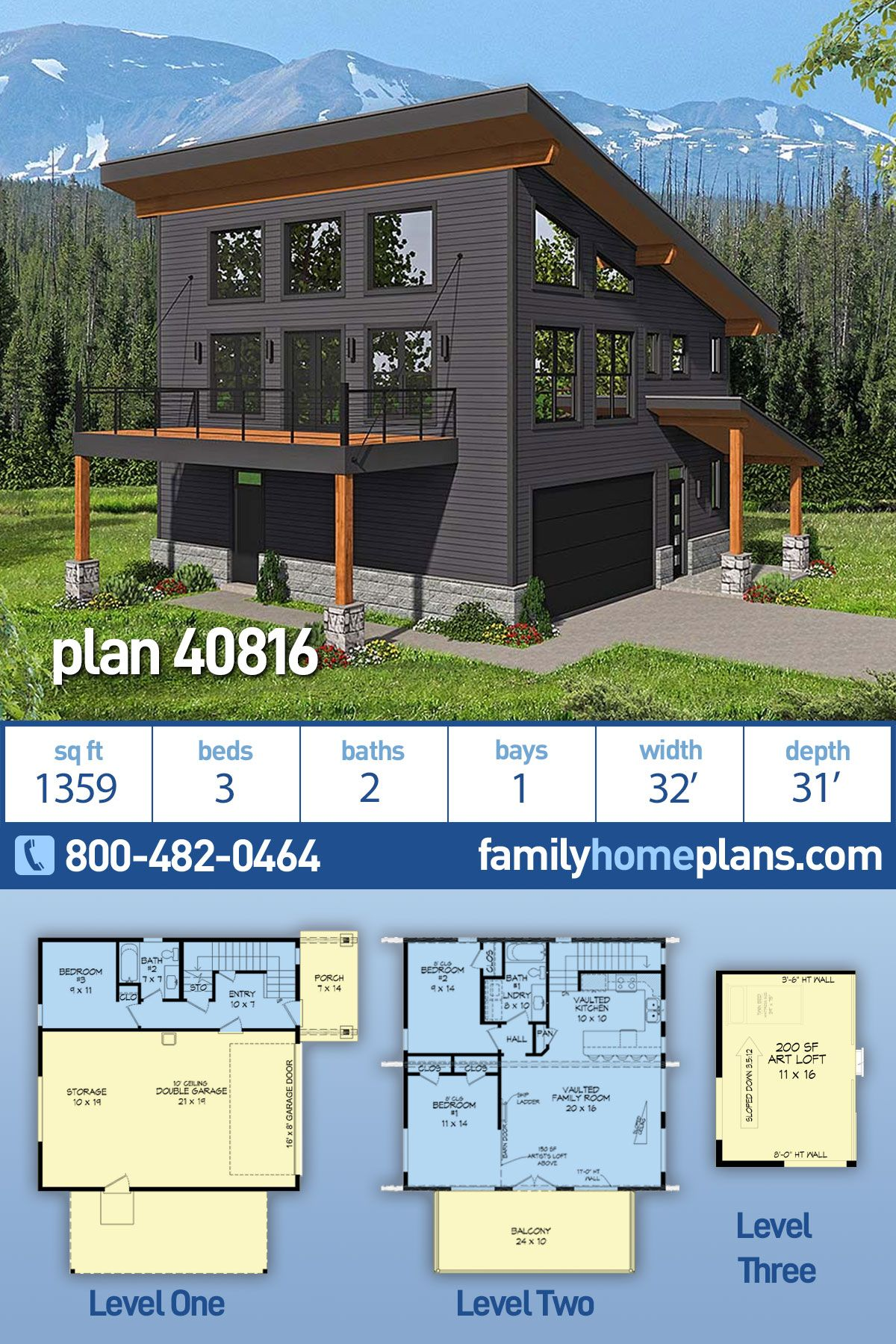 Modern Style Garage Living Plan 40816 With 3 Bed 2 Bath 2 Car Garage In 2020 Modern Style House Plans Vacation House Plans House Plans