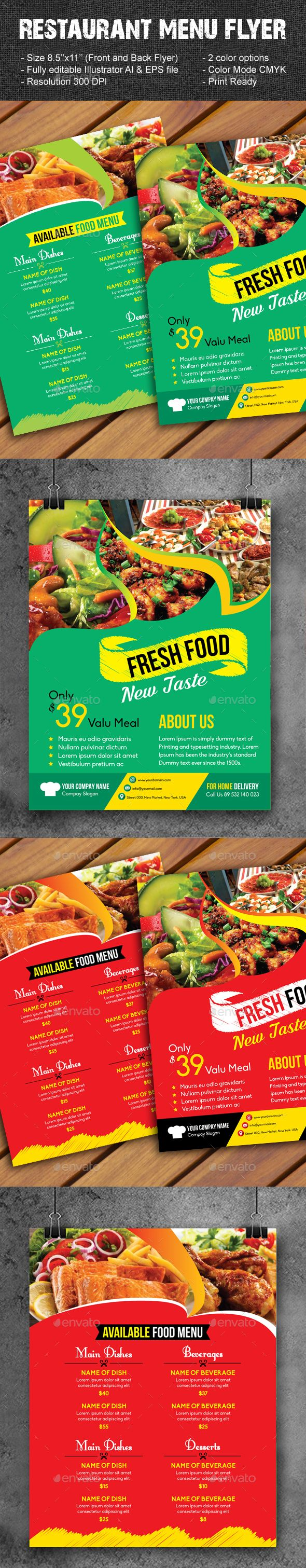 restaurant menu flyer pinterest