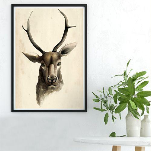 Retro Deer Canvas Print, Wall Art, Poster, Airbnb Home Decor. Sofa /