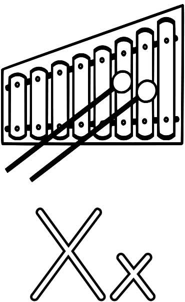 Xylophone Coloring Page Worksheets For Kids Printable