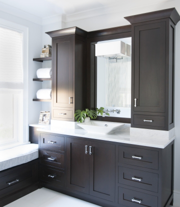 Same Color I Picked Out Smaller Version Espresso Cabinets With White Countertop Cabinets E Bathroom Vanity Storage Bathroom Vanity Small Bathroom Vanities