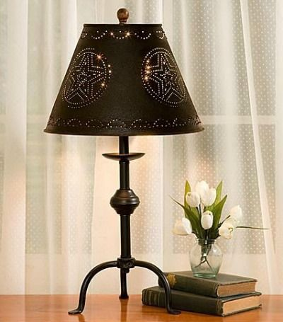 primitive lighting ideas. Star Punched Tin Lamp Shade. Great Decor For A Primitive Or Country Style Room. Lighting Ideas
