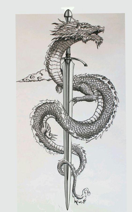 Sword And A dragon - Back tattoo Idea
