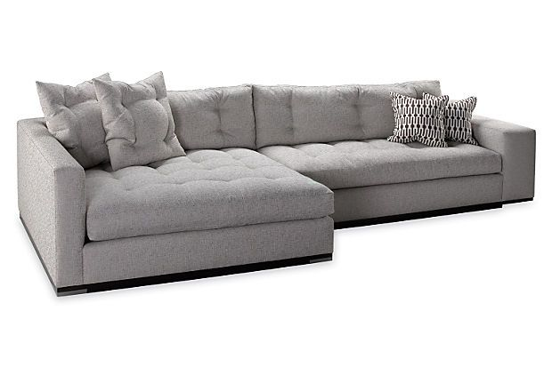 Colton Left Facing Sectional Stone Sectional Double Chaise Sofa Leather Chaise